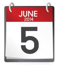 Calendar Of 5th Of June 2014 Vector