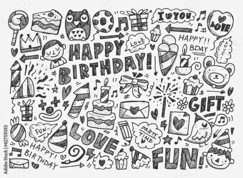 Photo  Doodle Birthday party background