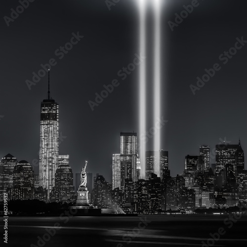Photo Stands New York City 12 years later…Tribute in Lights, 9/11