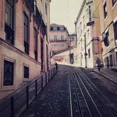 tram tracks in Lisbon