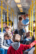 Kid from behind inside subway wagon. Berlin, Germany.