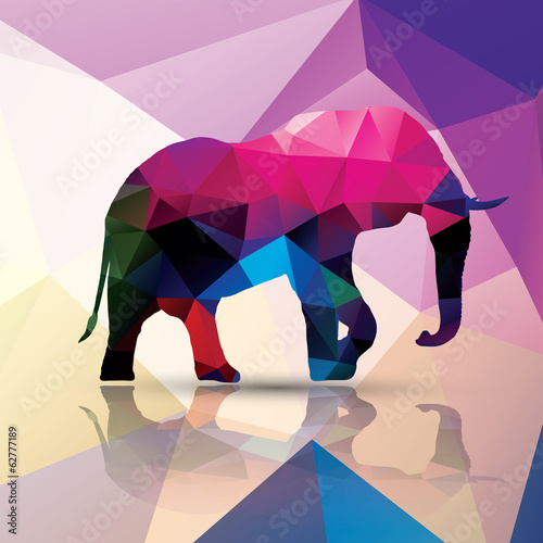 фотография Geometric polygonal elephant, pattern design, vector