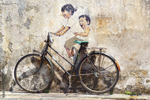 """Little Children on a Bicycle"" Mural."
