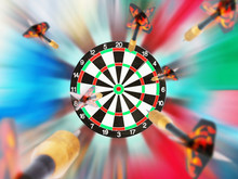 Classic Darts Board With Flying Darts