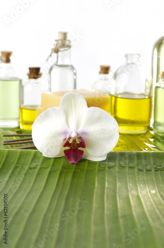 Poster Spa spa supplies with orchid .image of tropical spa.