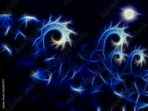 Papiers peints Fractal waves Waves abstraction with moon
