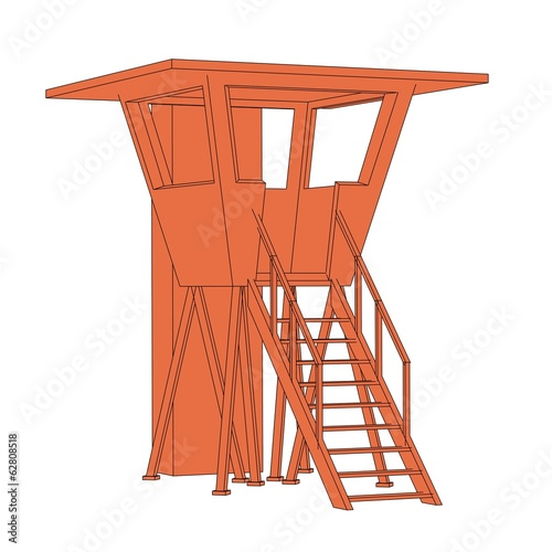 cartoon image of lifeguard cabin Tableau sur Toile
