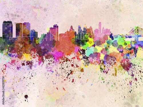 philadelphia-skyline-in-watercolor-background