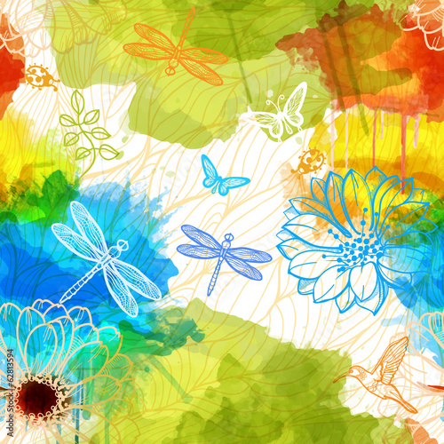 Seamless wallpaper of watercolors flowers,butterflies,birds