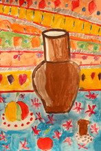 Children's Drawing With Brown Old Pitcher
