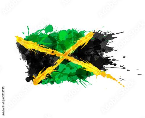 Fotografia Flag of Jamaica made of colorful splashes