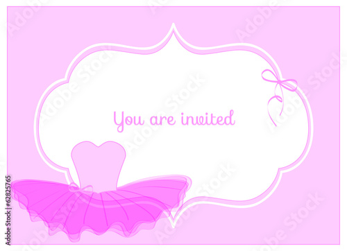 Fotografie, Obraz  invitation birthday party card with pink leotard with tulle tutu