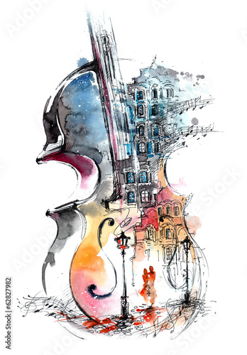 Photo sur Aluminium Peintures music and the city