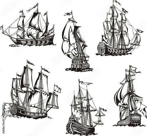 In de dag Schip Sketches of sailing ships