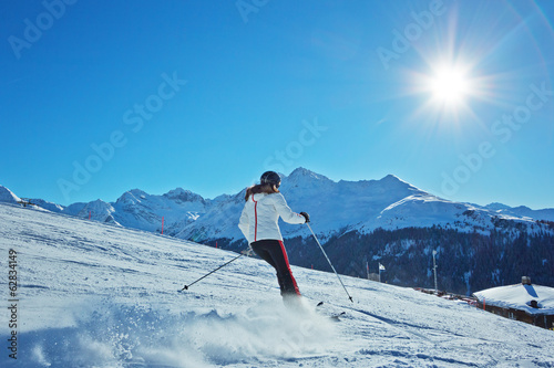 Foto op Canvas Wintersporten Ski Action in den Alpen