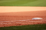 First Base Featured In Empty Baseball Field