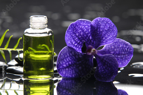 Poster Spa Still life with Purple orchid and black stones with palm leaf