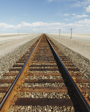 A Railroad Extending Through The Desert, Near Wendover In Utah.