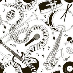 Tapeta Seamless pattern of musical instruments