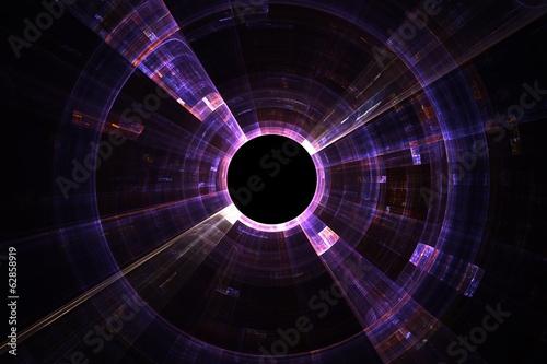 Obraz Abstract fractal background with empty black circle - fototapety do salonu