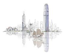 Artistic Sketch Of Hong Kong Bay, Sketch Collection