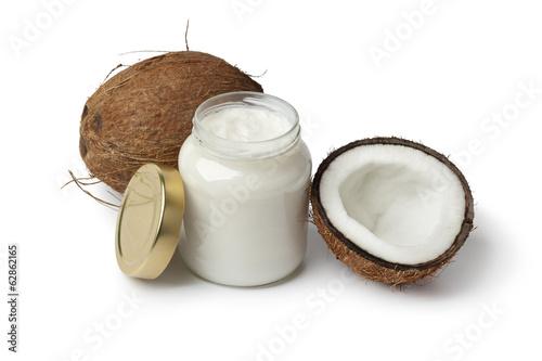 Fotografía  Aceite de coco y coco fresco