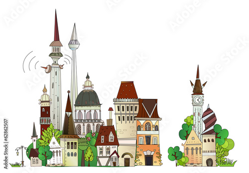 Foto op Canvas Kasteel Town illustration, city collection