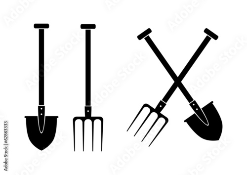 Cuadros en Lienzo Spade and pitchfork on white background