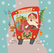 Funny Christmas Background With Santa Clause And Deer In Bus
