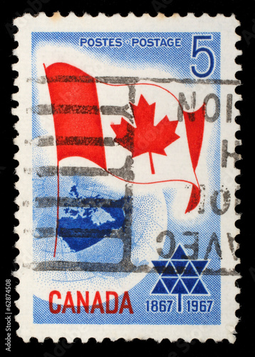 Poster  Stamp printed in Canada shows Canada flag, circa 1967