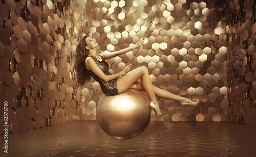 Photo  Sexy woman on the big ball