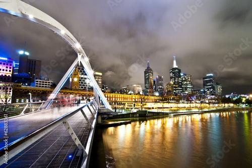 Melbourne bridge at night