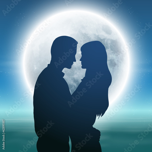 Fototapety, obrazy: Sea with full moon and silhouette couple at night.
