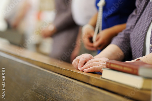 Fotografie, Obraz  Senior woman praying in a church