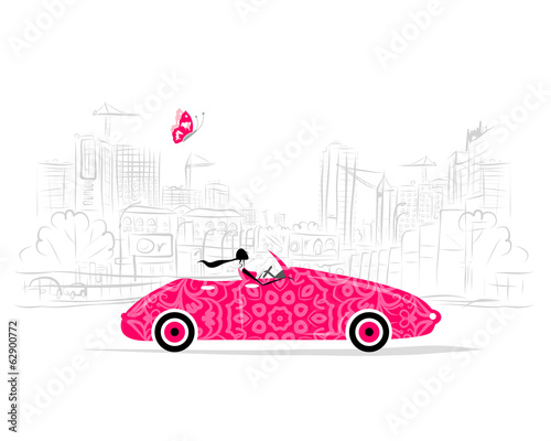 Staande foto Cartoon cars Woman driving car for your design