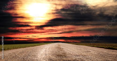 Obraz panorama rurale al tramonto - fototapety do salonu