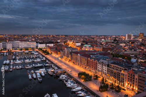 Foto op Plexiglas Antwerpen Aerial view to the harbor of Antwerp from the roof