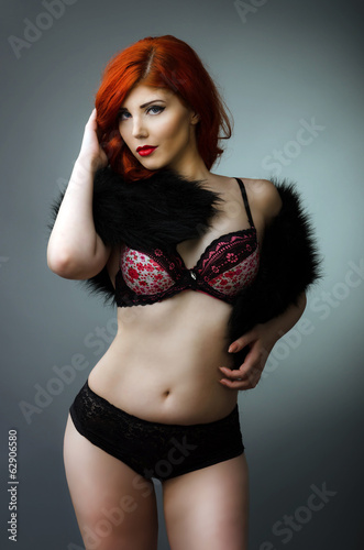 31d0c7cb26b Sensual plus size model posing in sexy lingerie - Buy this stock ...
