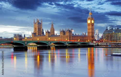 Poster Londen London - Big ben and houses of parliament, UK