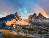 Fototapeta Tęcza - Dolomites mountain in Italy at sunset - Tre Cime di Lavaredo