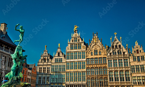 Poster Antwerp Nice houses in the old town of Antwerp, Belgium