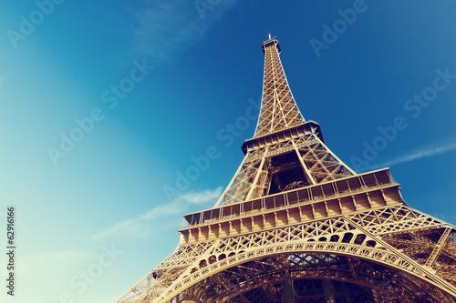 Poster de jardin Paris sunny morning and Eiffel Tower, Paris, France