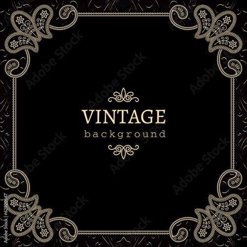 Fotobehang Stof Vintage gold background, square ornamental frame