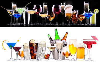 Fototapeta different alcohol drinks set