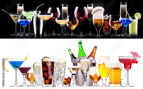 Aluminium Prints Bar different alcohol drinks set