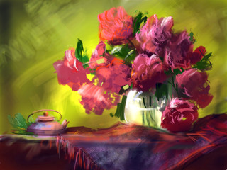 Fototapeta Romantyczny Flowers peonies