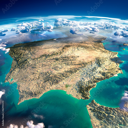 Canvas Print Fragments of the planet Earth. Spain and Portugal