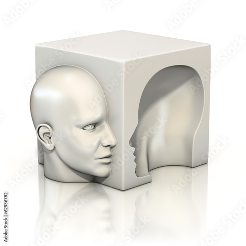 alter ego, psychology, abstract human head 3d concept Canvas Print