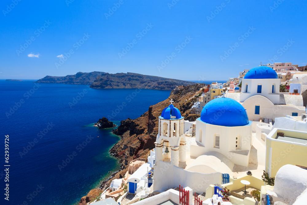 Fototapety, obrazy: Blue Dome Churches Oia Santorini