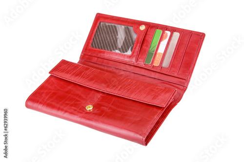 Fototapeta open red purse isolated on the white background obraz na płótnie